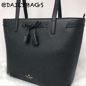 KATE SPADE MEDIUM TOP ZIP TOTE BLACK HAYES BAG